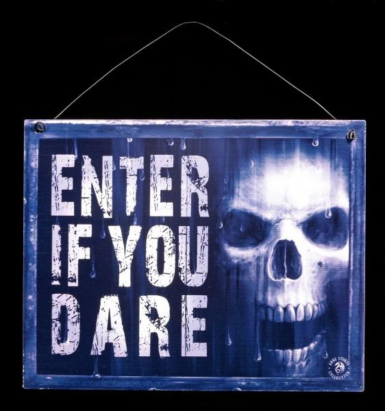 Watcher Metall Schild mit Totenkopf - Enter if you dare
