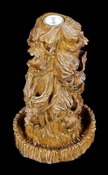 Backflow Incense Cone Holder - Skulls in Wooden Look