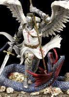 Heiliger Georg Figur mit Drache - Psalm 23 - bunt