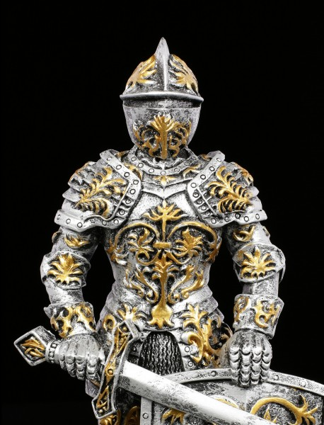 Knight Figurine with Sword and Lily Shield