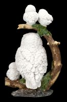 Eulenfigur - Schneeeulen Familie auf Ast