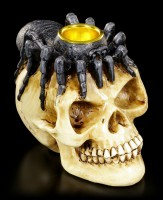 Candle Holder - Skull with Spider on Head