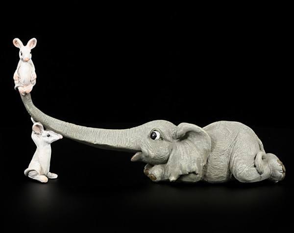 Elefanten Figur - Rüsselfant mit zwei Mäusen