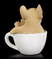 Hunde Figur mini - Französische Bulldogge Welpe in Tasse