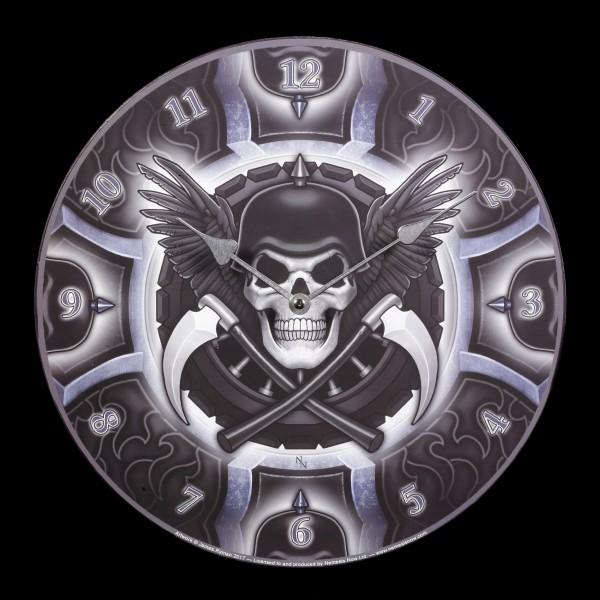 Wall Clock with Skull - Biker