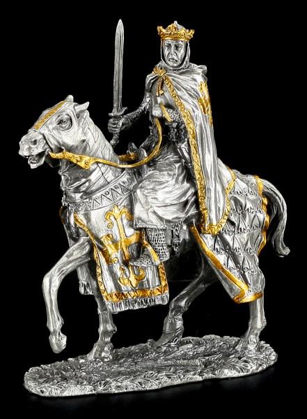Zinn Ritter Figur - König mit Pferd
