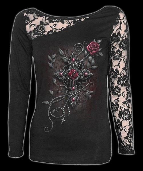 Netz Langarmshirt Gothic - Angel Beads