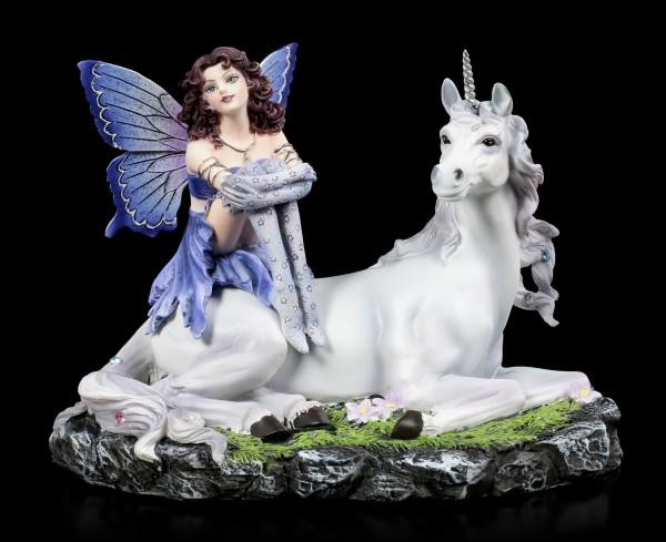 Fairy Figurine - Bluestar sits on Unicorn