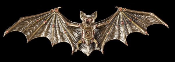 Steampunk Fledermaus Wandrelief - Clockwork Bat