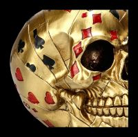 Playing Card Skull - Dead Mans Hand gold