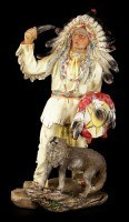 Indian Figurine - Chief with Wolf