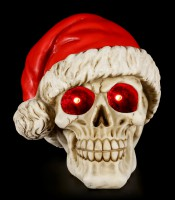 Skull with Christmas Hat and LED - Silent Night