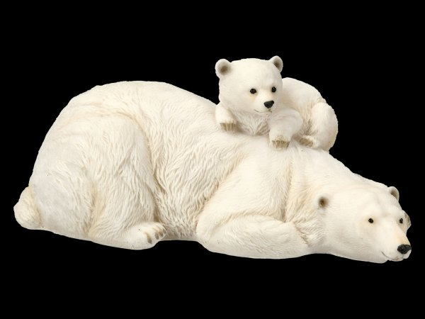 Garden Figurine - Polar Bear with Baby on back