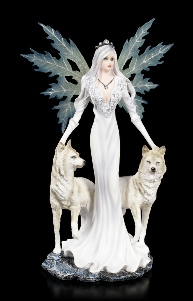 Fairy Figurine - Maylea with white Wolves