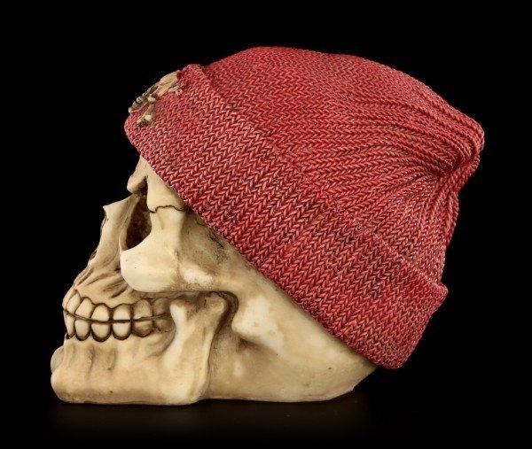 Totenkopf mit Beanie - Rot