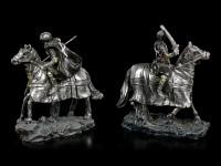 Schwarze Kreuzritter Figuren zu Pferd - 2er Set