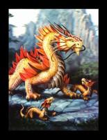 3D-Bild Anne Stokes Drache - Golden Mountain Dragon
