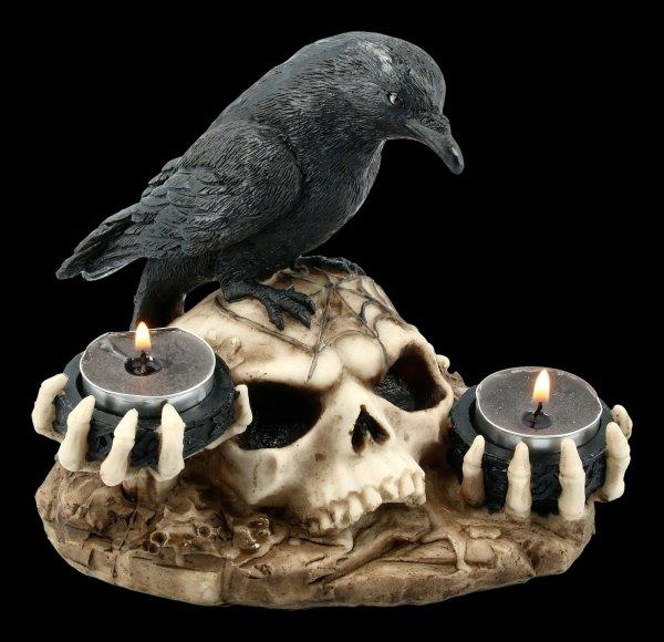 Teelichthalter - Rabe auf Totenschädel