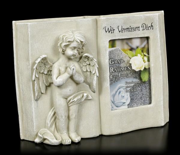 Grave Photo Frame Angel - Wir Vermissen Dich