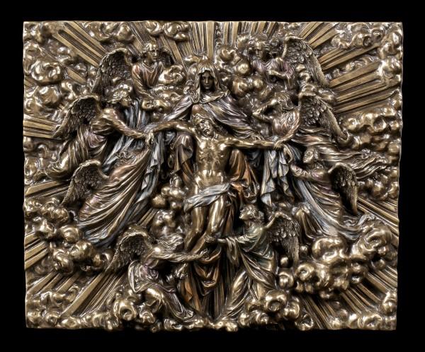 Wandrelief - Ikone Madonna hält Jesus mit Engeln