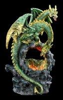 Zweiköpfige Drachen Figur - Grün mit LED