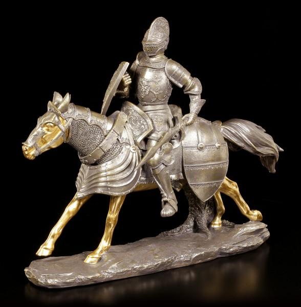 Ritter Figur - Reiter mit Schwert und goldenem Pferd