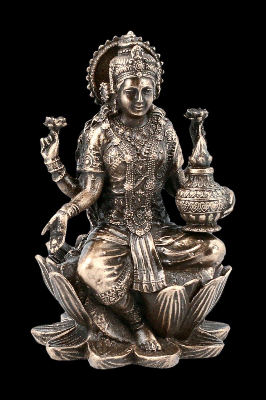 Lakshmi Figur auf Lotus Blüte - bronziert