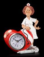 Funny Job Tischuhr - Krankenschwester mit Herz