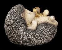 Gartenfigur - Schlafender Igel mit Schnecke