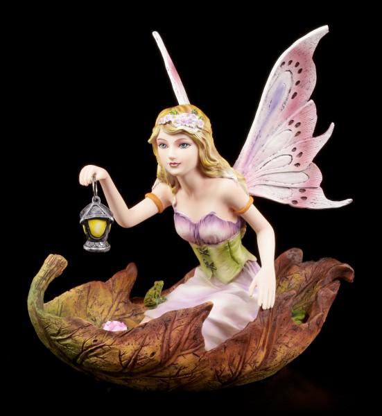 Vorschau: Elfen Figur - Luminosa in Blatt knieend