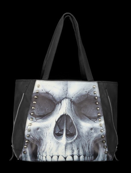 Kunstleder Tragetasche Totenkopf - Solemn Skull
