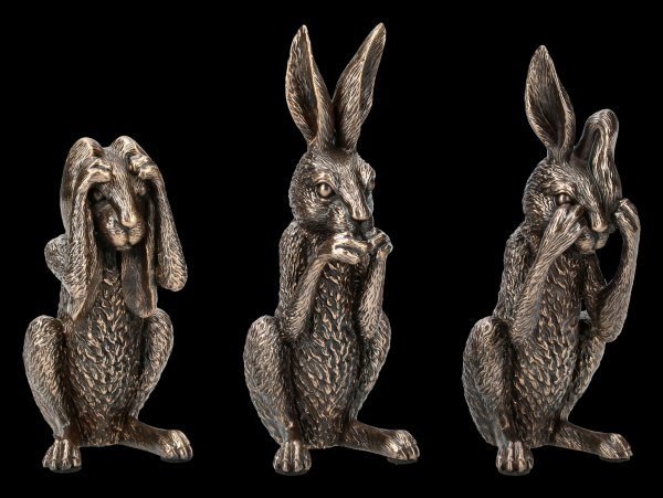 Three Wise Hares Figurines - No Evil