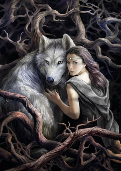 Greeting Card with Wolf - Soul Bond