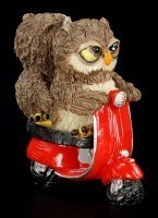 Owl Lovers on red Scooter - Funny Figurine