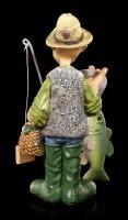 Angler Figur mit Fisch als Flaschenöffner