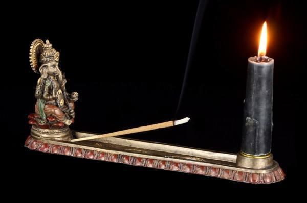 Räucherstäbchenhalter - Ganesha auf Lotusblüte
