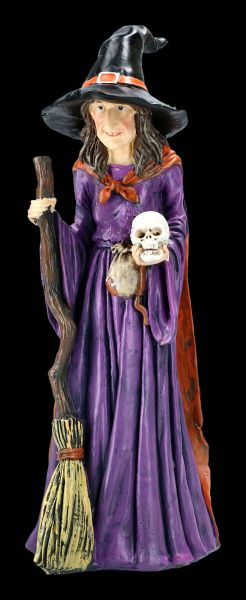 Witch Figurine with Broom and Skull