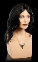 Alchemy Gothic Necklace - White Hart, Black Rose