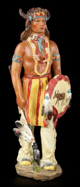 Indianer Figur - Mit Waffen und Büffelkopf