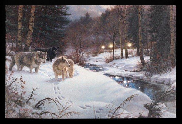 Leinwand LED - Winter Wölfe