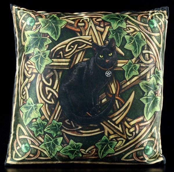 Kissenbezug - Schwarze Katze mit Pentagramm