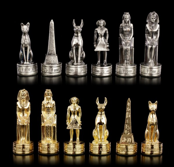 Pewter Chessmen Set - Ancient Egypt