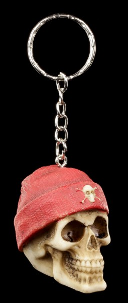 Totenkopf Schlüsselanhänger - Roter Beanie