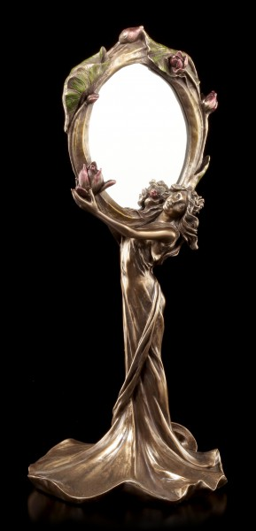 Art Nouveau Mirror - Woman holding Flower