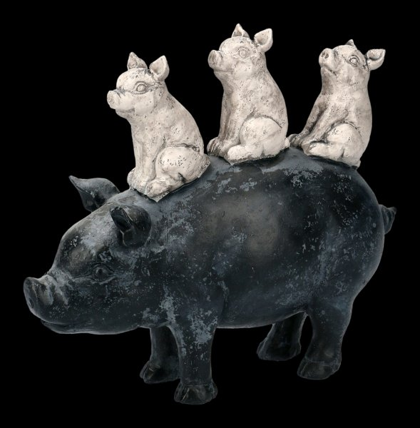 Piglets on Pig Figurine