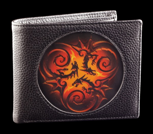 3D Wallet Black - Tribal Dragons by Anne Stokes