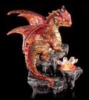 Drachen Figur orange mit LED - Amberz mit Kristallen