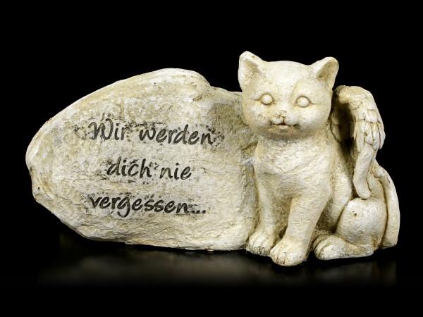 Vorschau: Katzen Engel Figur neben Grabstein