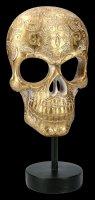 Goldfarbene Totenkopf Maske auf Metall Ständer