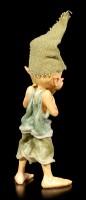 Pixie Goblin Figurine hiding behind Leaf